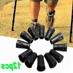 12 pcs Rubber Cane Pole Tip End Cap Protector For Walking Hi