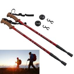 2 Hiking Trekking Poles Walking Stick Trail Adjustable Ultra