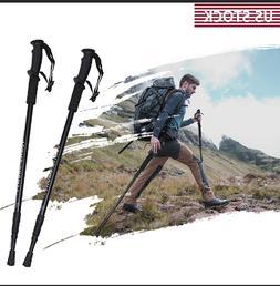 2×Anti-shock Walking Hiking Stick 3 Section Adjustable Retr