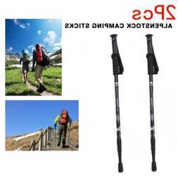 2PCS Trekking Walking Hiking Sticks Crutch Poles Adjustable