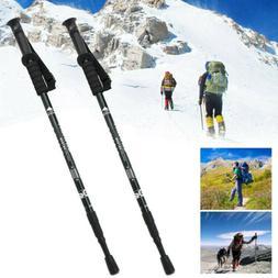 2PCS Trekking Walking Hiking Sticks Poles Adjustable Alpenst
