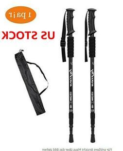 2pcs trekking walking hiking sticks poles adjustable