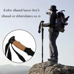 2X Cork Wood Handle Trekking Walking Hiking Sticks Poles Adj