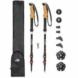 Cascade Mountain Tech 3K Carbon Fiber Trekking Poles Ultrali