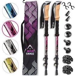 Premium Aluminum Hiking/Trekking Poles with Anti-Shock Tips,