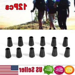 Black 12Pcs Hiking Pole Replacement Tips Trekking Protector