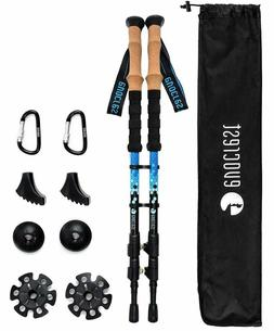 Carbon Fiber Trekking Poles - Collapsible, Shock Absorbent,