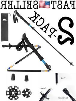 Foldable Trekking Walking Hiking Sticks Poles W/ EVA Foam Al