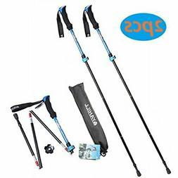 YAHILL Folding Trekking Pole Collapsible Stick  - 2pcs)