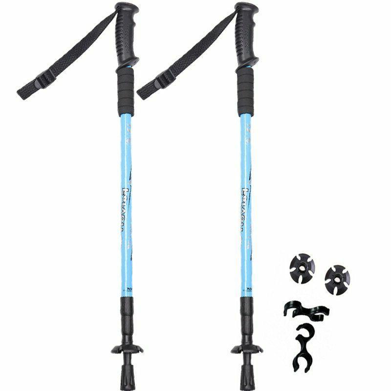 2 Anti Shock Walking Sticks Telescopic Hiking Poles
