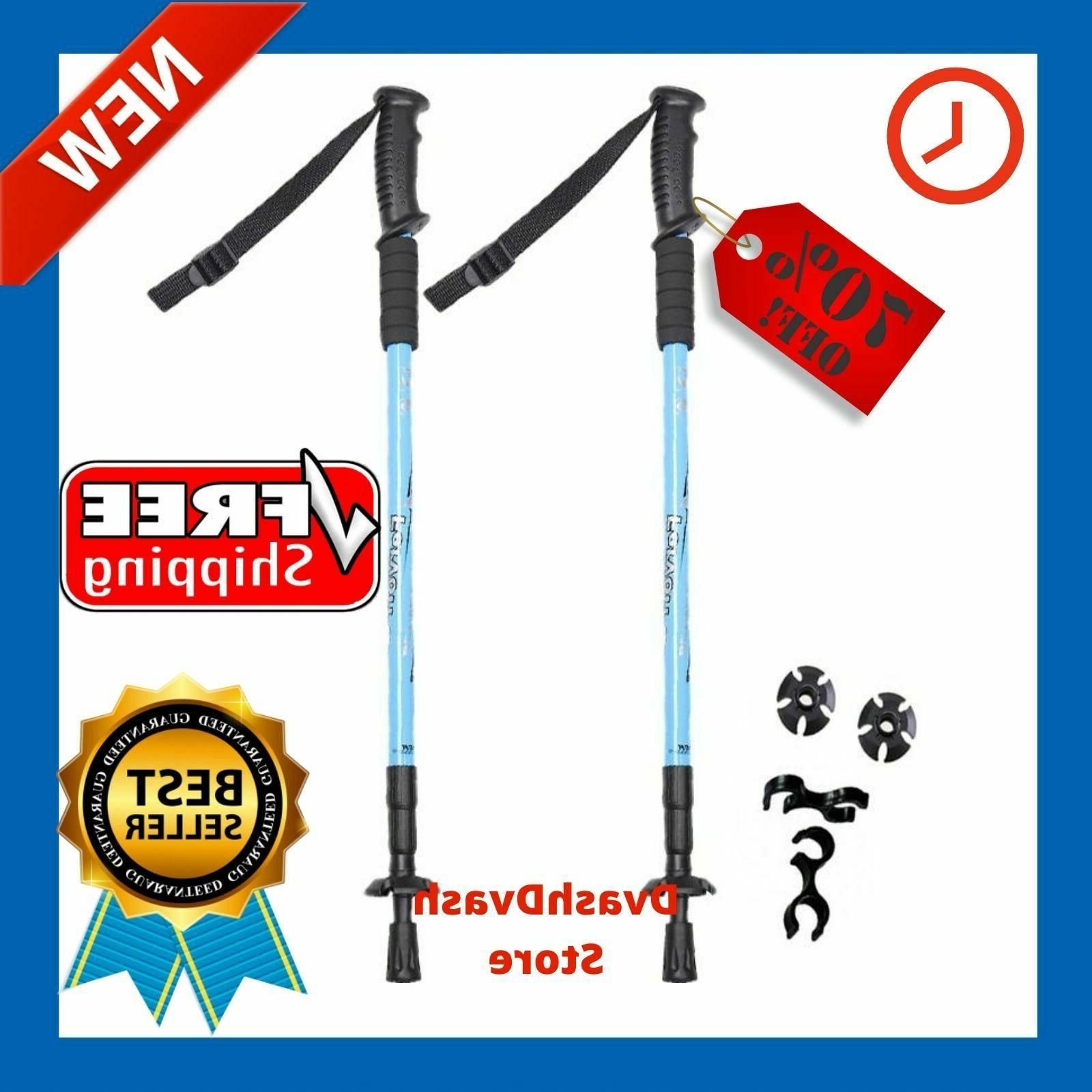 2 x anti shock walking sticks telescopic