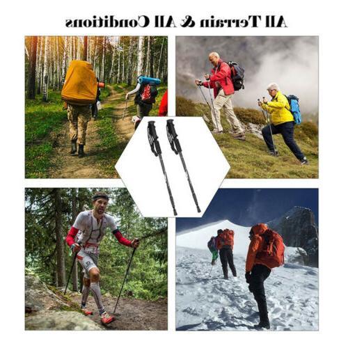 2PC Trekking Walking Hiking Sticks Adjustable Anti-shock Alpenstock