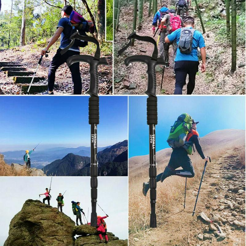 2pcs telescopic trekking walking hiking stick pole
