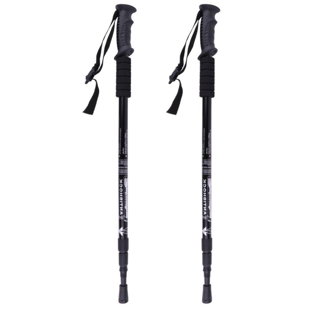 2PCS Walking Hiking Sticks Poles Adjustable Alpenstock Anti-shock US