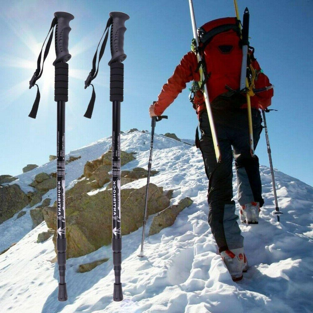 2PCS Trekking Walking Sticks Adjustable Alpenstock Anti-shock US