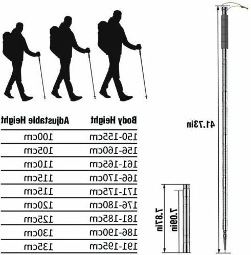 "56"" Trekking Hiking Poles Adjustable Camping Multitool"