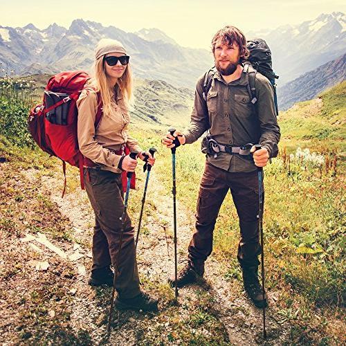 Premium Aluminum Hiking w/Cork Collapsible Trekking/Walking with Anti-Shock Tips Flip The Great