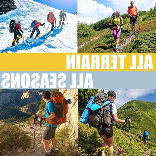 XinZHiYuAy Trekking Poles, Lightweight, Walking 4 Included,Blue