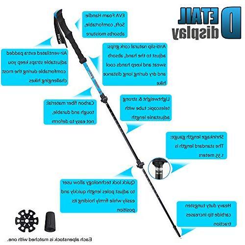 XinZHiYuAy Carbon Fiber Trekking Shock-Absorbent Walking Grips, Quick Flip Locks, 4 Carry Included,Blue