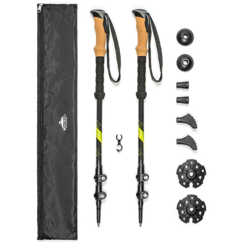 carbon fiber trekking poles quick lock cork
