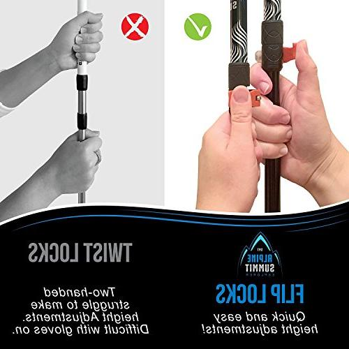 Alpine 100% Fiber Poles w/Cork Grips & -2 pc/Pair- Sticks