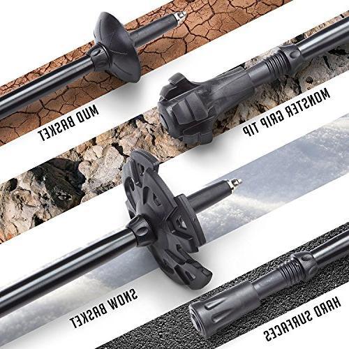 Alpine Fiber Poles Grips Aluminum Quick-Locks -2 pc/Pair- Sticks