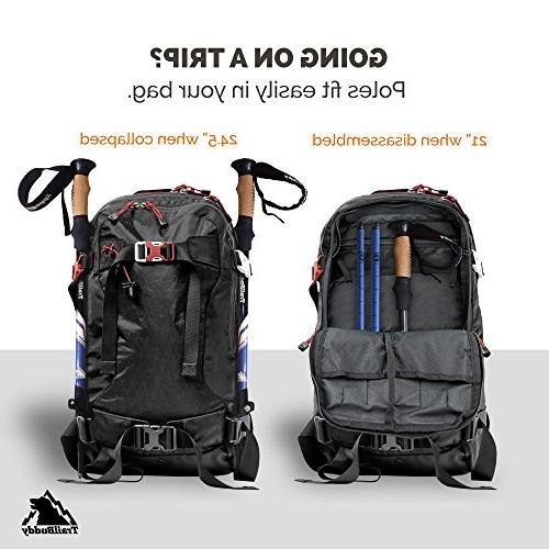 TrailBuddy Hiking 2-pc Adjustable or Sticks Strong, Lightweight Aluminum - Strap Bag, Accessories