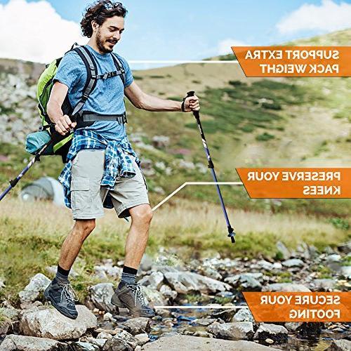TrailBuddy Hiking 2-pc Pack Adjustable or Strong, Lightweight 7075 - Adjust - Cork Grip, Strap - Bag,