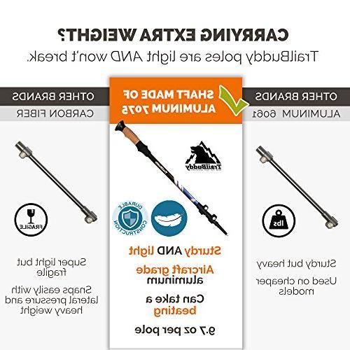 TrailBuddy Poles 2-pc Pack Adjustable or Sticks Strong, Lightweight Aluminum 7075 - Quick Flip-Lock - Cork Strap Bag, Accessories