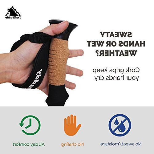 TrailBuddy Sticks 2-pc Walking or Poles - Strong, - Adjust - Cork Grip, Strap -