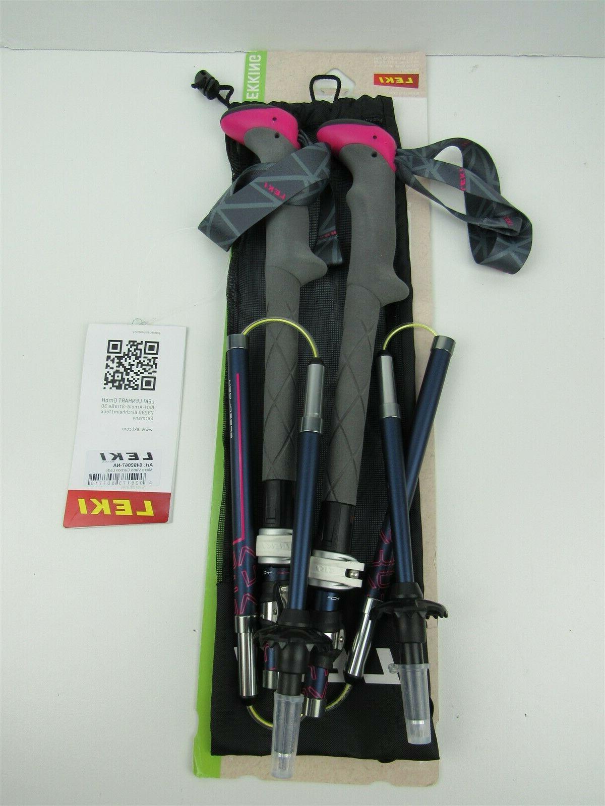Leki Micro Vario Carbon Lady Trekking Hiking Poles 100-120 c