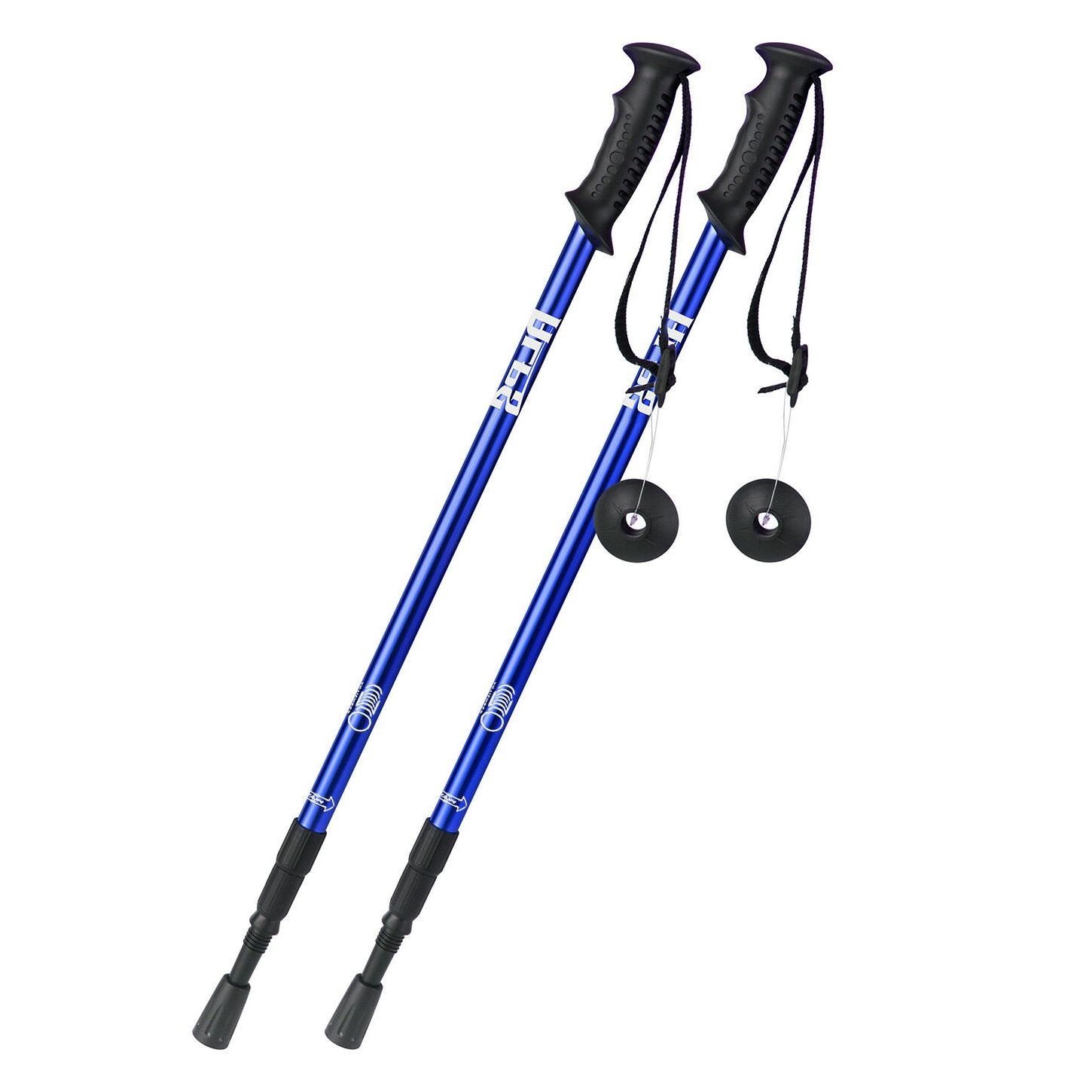 pair 2 trekking poles walking hiking sticks