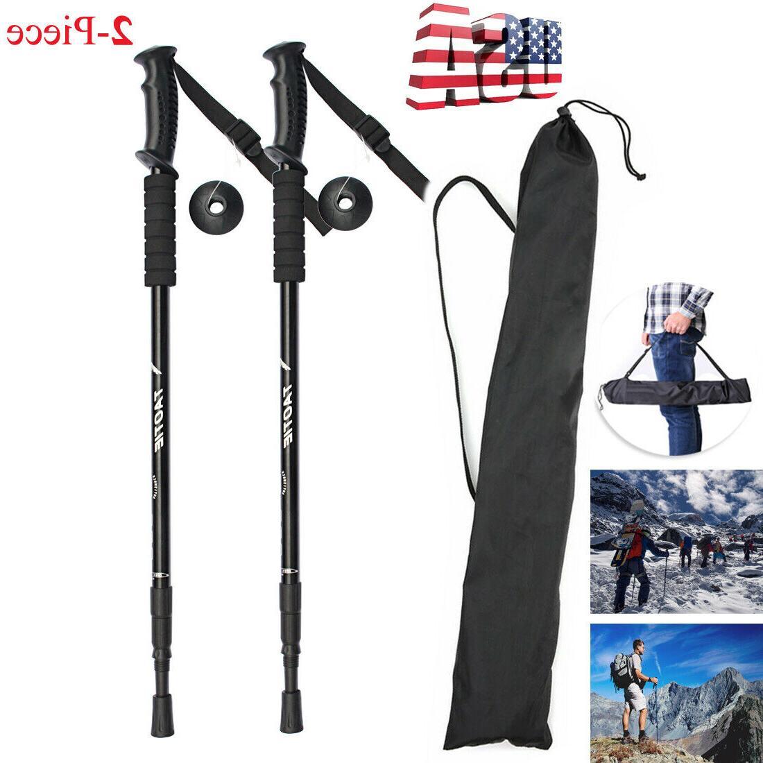 pair 2 trekking sticks poles alpenstock walking