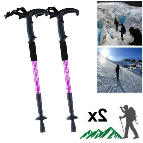 pair 2 trekking walking hiking sticks alpenstock