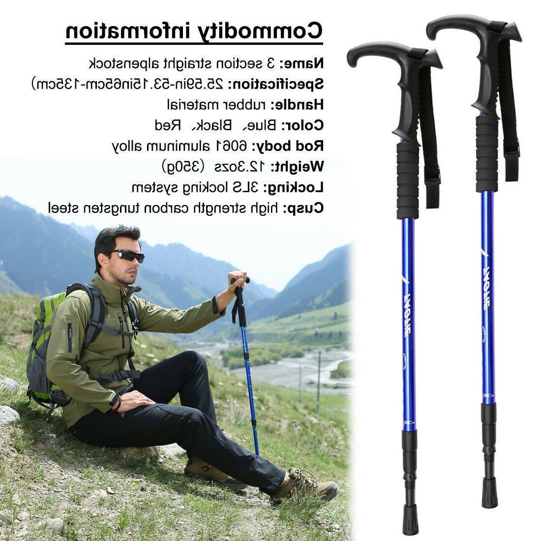 pair 2 trekking walking hiking sticks poles