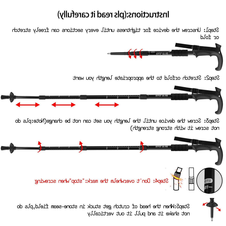 Pair 2 Hiking Poles Adjustable Aluminum Alpenstock