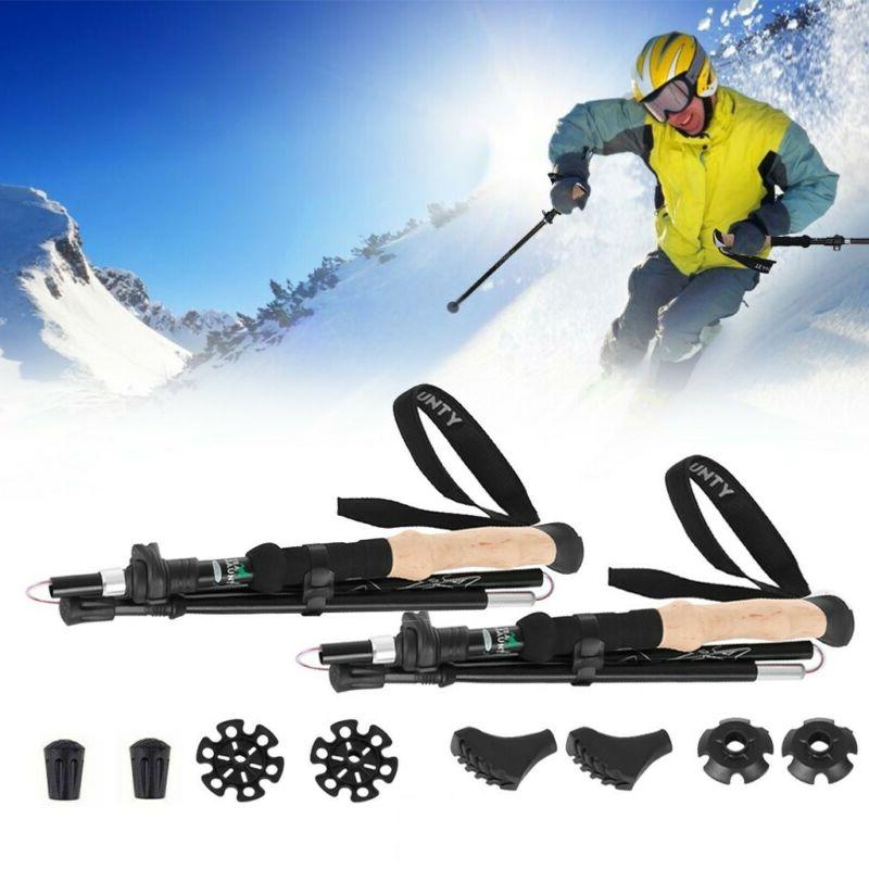 Collapsible Tri-fold Trekking Hiking Poles Adjust 7075 Alumi