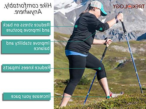 Trekology Trekking Poles - Collapsible Folding Strong Quick Flip-Lock, Foldable Tri-Fold Poles