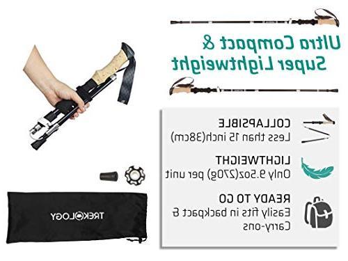 Trekology Poles Collapsible Sticks, Strong Aluminum Quick Flip-Lock, Foldable Poles