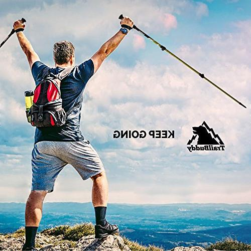 TrailBuddy 2-pc Pack Adjustable or Walking Strong, 7075 - Quick Adjust Flip-Lock - Cork Grip, Padded Strap Accessories