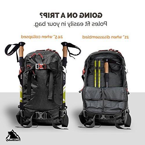 TrailBuddy Trekking 2-pc or Walking Sticks Strong, Lightweight 7075 - Adjust Flip-Lock - Cork Strap Free Bag, Accessories