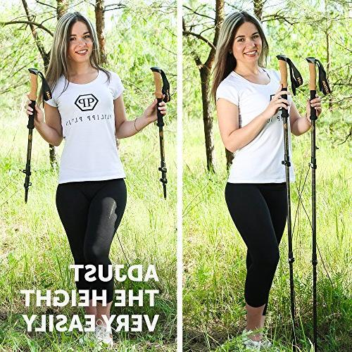 Trekking Poles Women Full - 100% Fiber Sticks Collapsible - Natural Cork – Mountaining Walking Hiking