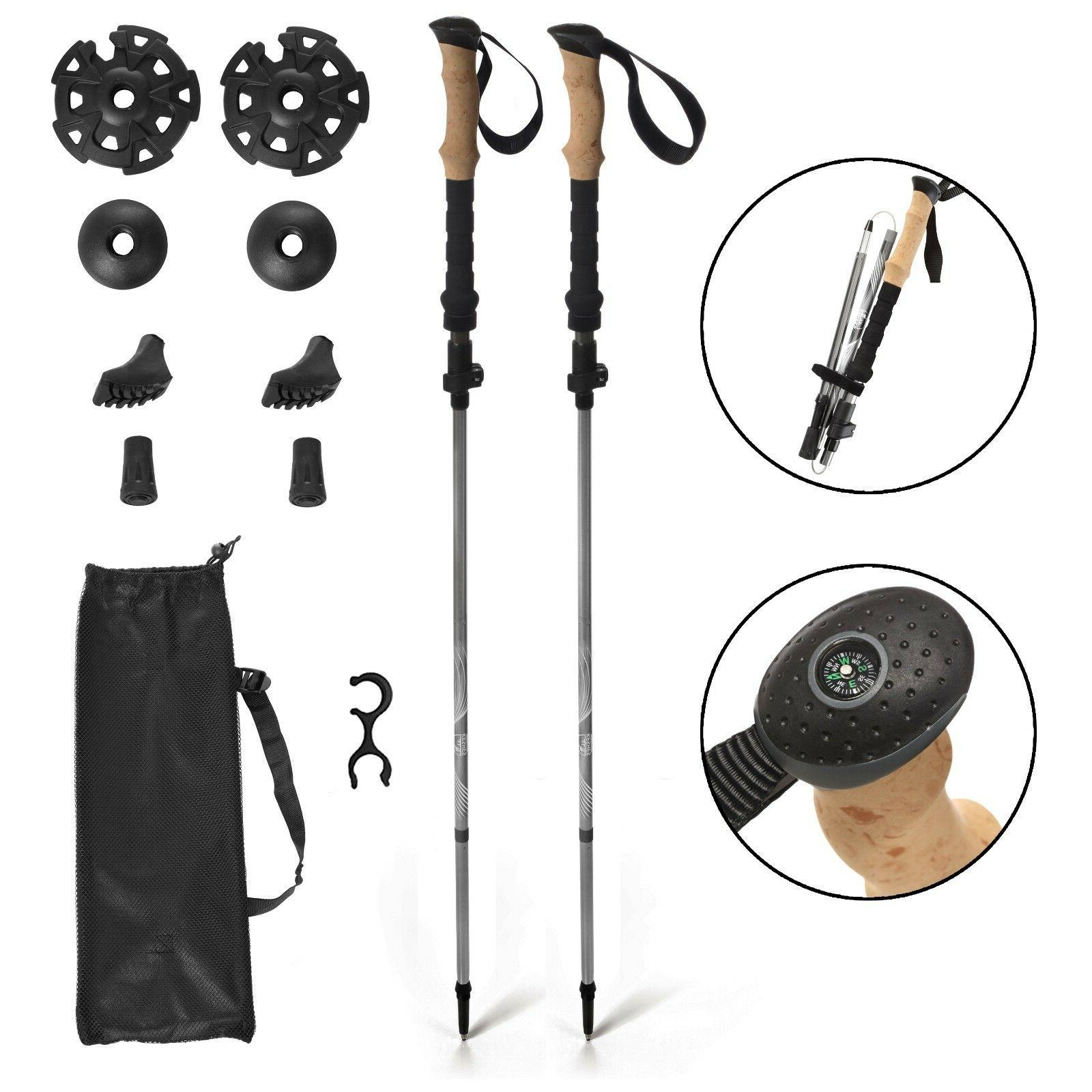 Trekking Hiking poles walking with compass