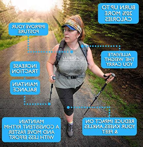 Foxelli Collapsible Shock-Absorbent Fiber Hiking, Walking Running Cork Grips, Season/All Terrain Accessories Carry Bag,