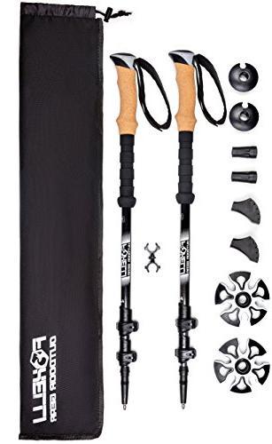 Foxelli Trekking Collapsible Lightweight Shock-Absorbent Fiber Running Sticks with Grips, Quick 4 Carry 2