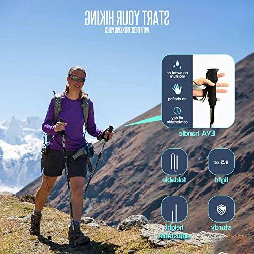 Trekking Poles Hiking for Height 5 '3 '3 Pack Sticks Collapsible Walking Trekking Poles Hiking Handle