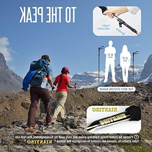 "Trekking Height 5 '3 ""-6 '3 Pack Sticks Lightweight Collapsible Trekking Poles Hiking Poles EVA Handle"
