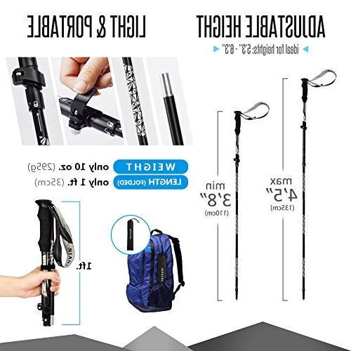 Trekking Height '3 Pack Walking Hiking Sticks Collapsible Walking Trekking Trail Aluminum Hiking Handle