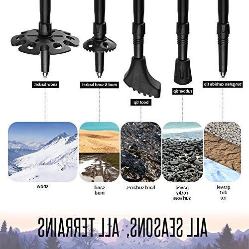 Trekking Height '3 Pack Walking Sticks Trekking Aluminum Handle Women