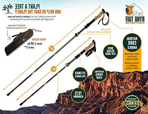Ryno Poles, Fits Durable Pole Cork Handles EVA Ultralight, Expandable, Collapsible and Foldable, Set 2 Walking